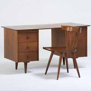 Paul mccobb winchendon planner group double pedestal desk and chair grand rapids mi 1950s birch and brass foil label on desk desk 29 x 53 x 26 14