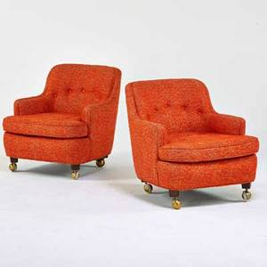 Edward wormley dunbar pair of lounge chairs berne in 1960s wool casters upholstery labels 29 x 26 x 32