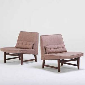 Edward wormley dunbar pair of slipper chairs berne in 1960s walnut upholstery both unmarked 29 x 26 12 x 28