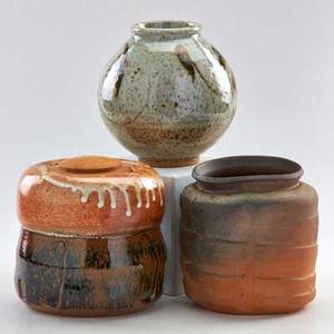 Malcolm wright stoneware tea jar woodcovered woodfired jar and spherical vase vermont late 20th c all marked tallest 7