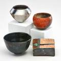 Nancee meeker three small pitfired bowls and one raku sculpture usa second half 20th c all signed tallest 3