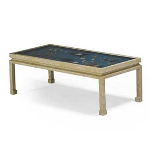 James mont coffee table new york 1960s painted wood glass found chinese screen with coral jade and lacquer unmarked 17 x 52 x 24