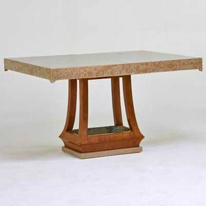 James mont extension dining table new york 1960s polychromed wood tiger maple tin unmarked 29 x 48 x 40 one leaf 12