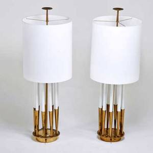 Tommi parzinger attr stiffel lamp co pair of table lamps usa 1960s brass enameled metal and linen foil labels fixtures 49 12 x 9 dia