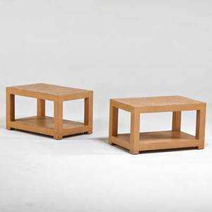Karl springer pair of woven rattan side tables new york 1970s paper retailer labels 16 14 x 28 x 18
