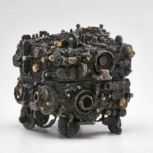 James bearden trinket box with circular elements des moines ia 2014 welded blackened and enameled steel brass unmarked closed 8 x 8 14 x 7 12
