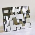 Style of neal small faceted mirror usa 2000s mirrored glass painted wood and metal 52 x 36 12 x 5
