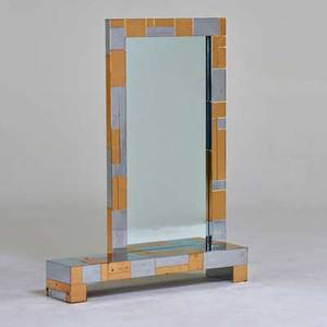 Style of paul evans mirrorconsole usa 1970s chromed steel brass mirror unmarked 46 x 36 x 8