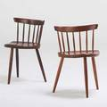 George nakashima nakashima studios two mira chairs one cherry 1972 one walnut 1956 new hope pa  cherry chair signed with clients name each 27 x 19 12 x 18 provenance available signe