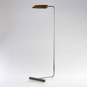 Style of cedric hartman brass and chrome floor lamp usa 1980s unmarked overall 37 12 x 12 12