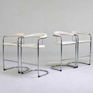 Anton lorenz thonet set of four bar stools vinyl chromed steel all unmarked 41 x 23 12 x 21