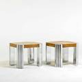 Leon rosen pace two similar side tables usa 1970s maple burl chromed steel unmarked 22 x 26 sq