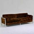 Directional sofa usa 1970s crushed velvet aluminum manufacturer label 33 x 94 x 32