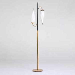 Italian floor lamp ca 1950s brass enameled steel marble unmarked 73 12 x 15 12 x 11