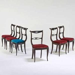 Italian set of six side chairs ca 1940s mahogany velvet upholstery unmarked 34 x 17 x 21