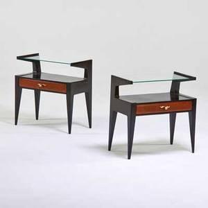 Italian pair of nightstands 1950s burlwood ebonized wood brass glass unmarked 23 x 22 12 x 12
