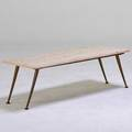 Italian coffee table 1950s travertine painted wood brass travertine stamped made in italy 15 12 x 46 x 18