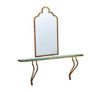 Italian console and mirror 1960s gilt iron glass mirror unmarked console 25 x 65 x 16 mirror 50 x 26