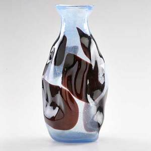 Anzolo fuga attr 19141988 possibly avem glass vase with windows and blue paste murano italy second half 20th c unmarked 13 34 x 7 dia