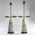 Italian pair of table lamps each with electrified candles and two sockets 1980s patinated metal faux marble brass plastic unmarked 43 x 19 14 sq