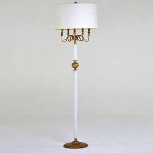 Italian floor lamp 1940s lacquered wood brass paper shade unmarked to finial 74 x 16 12