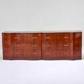 Grosfeld house serpentine fourteendrawer chest usa 1950s ribbon mahogany brass pulls unmarked 32 x 96 x 23