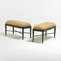 Hollywood regency pair of ebonized benches with faux bamboo legs and xshaped cross stretches usa 1950s enameled wood brass upholstery 18 x 34 12 x 13