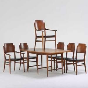 Lane dining table and chairs two arm four side altavista va 1960s walnut figured walnut printed vinyl stenciled numbers to table and chairs table 29 x 65 x 38 armchair 37 x 22 12