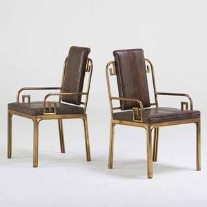 Mastercraft pair of mandarin armchairs usa 1980s patinated steel printed vinyl one upholstery label each 37 x 22 x 23