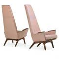 Adrian pearsall pair of tallback lounge chairs wilkes barre pa 1960s walnut upholstery unmarked 55 12 x 32 x 41