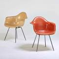 Charles and ray eames herman miller two shell armchairs zeeland mi 1960s plasticreinforced fiberglass zincplated steel unmarked 31 12 x 24 12 x 24