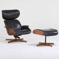 George mulhauser plycraft lounge chair and ottoman lawrence ma 1960s walnut painted metal vinyl manufacturer labels chair 39 x 31 34