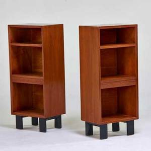 George nelson herman miller pair of nightstands zeeland mi 1950s walnut painted wood unmarked 40 x 17 x 12