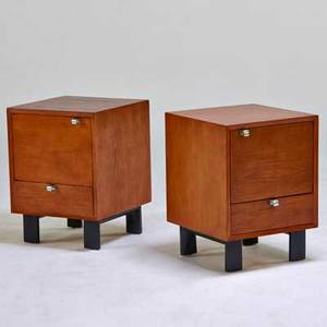 George nelson herman miller pair of nightstands zeeland mi 1950s teak chromed steel ebonized wood unmarked 24 12 x 18 x 18 12