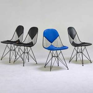 Charles and ray eames herman miller four bikini chairs zeeland mi 1950s enameled metal vinyl manufacturer labels 32 x 19 x 22