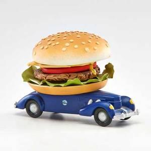Ellie fernald ceramic sculpture of burger on automobile usa second half 20th c unmarked 5 34 x 7 12 x 5