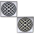 Op art pair of wall mirrors each decorated with a black and white globe second half 20th c mirrored and painted glass aluminum both unmarked 20 14 sq x 14