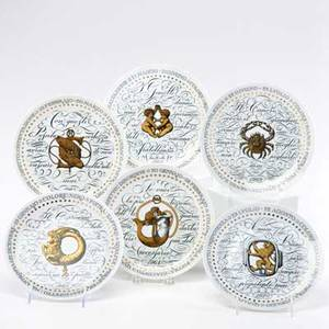 Piero fornasetti perugia set of six serie zodiaci plates pisces capricorn cancer leo aquarius gemini italy 1960s special edition mark fornasetti milanomade in italy for perugia 34 x