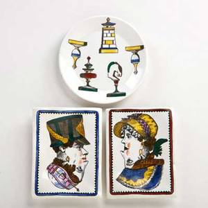 Piero fornasetti small plate with chess pieces and two small trays with dual heads italy 20th c ink stamped fornasetti milanomade in italy plate 34 x 5 12 dia