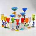 Murano fourteen goblets in various fanciful shapes and sizes italy late 20th c all unmarked tallest 12 14