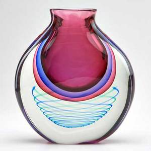 Luigi onesto murano somerso glass vase with embedded helix design italy second half 20th c signed l onestomurano 11 x 9 dia