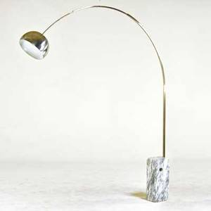 Achille and pierre giacomo castiglioni flos arco floor lamp italy 1970s marble chromed steel unmarked as shown 95 x 82 x 13