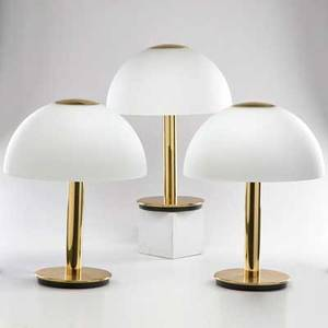 Limberg three polished brass table lamps with frosted glass shades germany 1990s all with labels each 20 x 15 12 dia