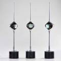 Style of angelo lelli three adjustable table lamps taiwan 1986 chromed and enameled steel one with foil label 24 12 x 4 14 dia