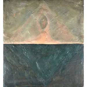 Jeff adams american 19532012 mixed media on canvas laid to board shrine 1989 signed dated and titled on verso 39 78 x 36