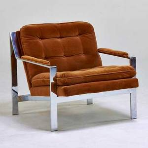 Milo baughman thayer coggin zbar lounge chair high point nc 1970s chromed steel velvet unmarked 27 x 29 12 x 32