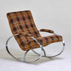 Style of milo baughman zbar rocking chair usa 1970s chromed steel upholstery unmarked 36 x 26 12 x 34