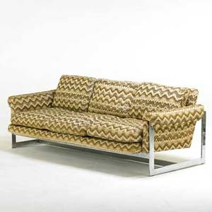 Milo baughman thayer coggin sofa high point nc 1970s chromed steel upholstery manufacturer label 28 12 x 82 x 36