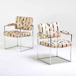 Milo baughman thayer coggin two armchairs high point nc 1970s chromed steel upholstery one with fabric label 31 x 23 12 x 24