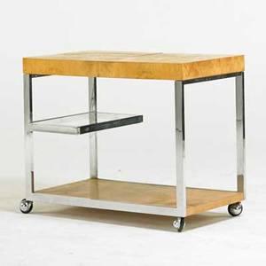 Milo baughman thayer coggin bar cart high point nc 1970s chromed steel olive burl laminate glass unmarked 29 12 x 36 x 20